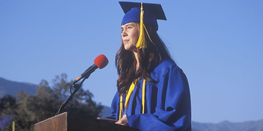 Student delivering a graduation speech