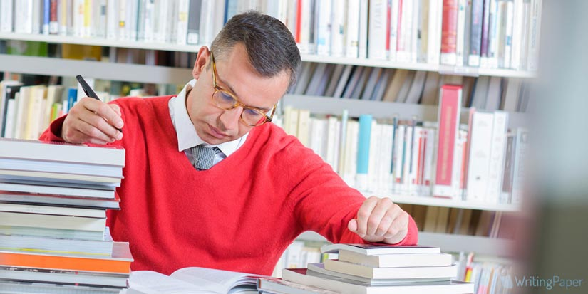 Thinking Man in Library
